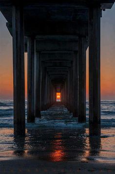 Scripts Pier~La Jolla, California. The sun only lines up like this twice per year
