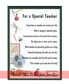 Poem Best English Teacher Reciation Gift Ideas From Students