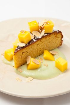 Boiled orange cake with coconut custard by Peter Gordon
