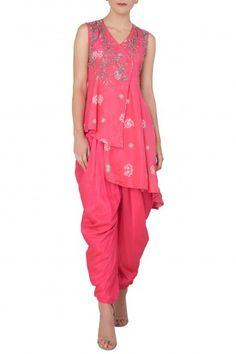 Koashee By Shubhitaa Featuring a pink asymmetrical bandhani kurta in silk  base with zardozi and resham 3109aa7a0
