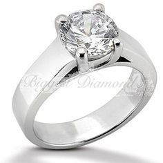 Thickened Wide Band .75-2.5 ct 4-prong Round Brilliant Cut Solitaire Diamond Engagement Ring