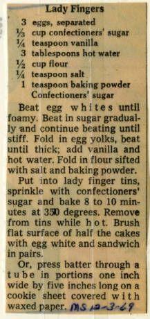 Lady Fingers. :: Historic Recipe