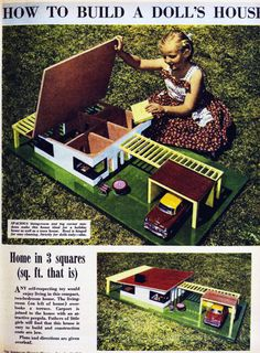 Build a dolls' house - a mini replica of a full-scale contemporary house 16 Nov 1960 - The Australian Women's Weekly Vintage Dollhouse, Victorian Dollhouse, Modern Dollhouse, Dollhouse Dolls, Dollhouse Miniatures, Vintage Paper Dolls, Vintage Toys, Vintage Stuff, Miniature Houses
