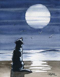 BLACK LAB Moon Dog Watercolor Art Print Signed by Artist DJ Rogers
