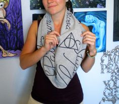 .harry potter deathly hallows spells infinity scarf: $28.00 on etsy