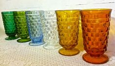 Beautiful colors of vintage Whitehall glasses were sold at Walmart in the 1970's