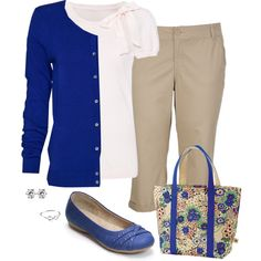 Khaki Capris - I have everything in my closet to create this look but my tote is a denim signature fabric Dooney & Bourke.