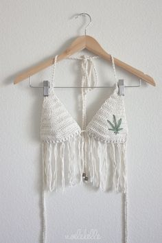 Ecru Fringe Bra / Bikini Top with Pot Leaf - Natural Undyed Cotton - Made To Order - Festival Fever Fashion - Weed Bikini