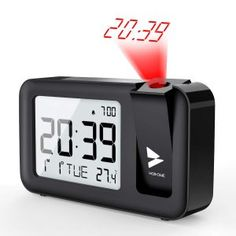 Date OurLeeme Horloges /à Projection R/éveil /électronique Projection Murale avec Double Alarme 12//24 Heures Noir Humidit/é de l/écran Temp/érature Int/érieure
