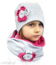 Komplet dla dziewczynki czapki bukiet pasji czapka komin kominy