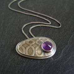 Amethyst Pendant etched sterling silver by CinnamonJewellery, £38.00