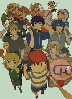Many different Smash characters.  This looks really stylized, as if it was straight out of an anime.  My main problem is that the background doesn't fit at all.  Also, there's too much shadow on all of the characters.  Still looks really detailed.