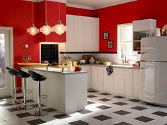 I like the red, black, and white! Cute U-shaped kitchen.