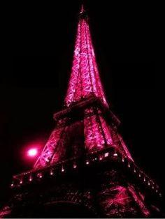 pink Eiffel Tower lights