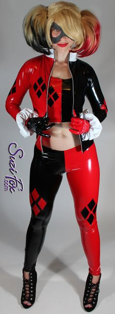 Harley Quinn style Leggings in Stretch Gloss Black and by SuziFox
