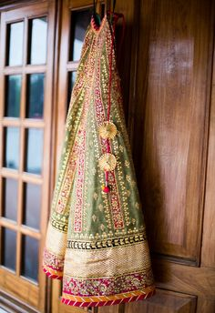 Beautiful Olive Green, Gold & A Flash Of Pink With Gota Patti #Lehenga.