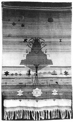 """Gunta Stölzl - Bauhaus Master. Wall Hanging (lost) 1922  The wall hanging was presented at the Bauhaus exhibition in 1923, room 40  Photograph mounted on card with artist notation. 17x10cm  Estate of Margarete Willers.  Source: """"the bauhaus: masters and students"""" book, page 62."""