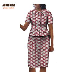 2017 autumn women 2-pieces suit AFRIPRIDE private custom african short sleeve single breasted top+knee-length skirt suit A722628