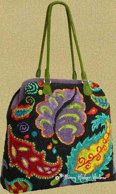 "Much prettier than a carpet bag--by ""La Feliz Hooker Woolens Nuevo--STUNNING color."