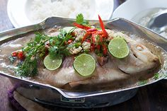 Thai Steamed Fish with Chili & Lime (Plah Neung Manao)