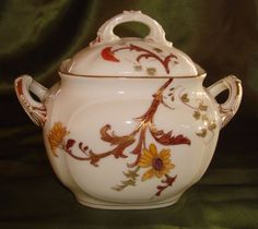 ANTIQUE HAND PAINTED LIMOGES D&Co. LARGE COVERED JAR, SUGAR BOWL FLORAL & GOLD
