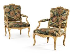 date unspecified A pair of carved giltwood armchairs, early Louis XV Estimate  8,000 — 12,000  EUR 9,457 - 14,185USD LOT SOLD. 13,750 EUR (16,254 USD) (Hammer Price with Buyer's Premium)