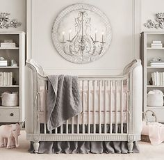 a gently curved crib. upholstered in belgian linen. #rhbabyandchild