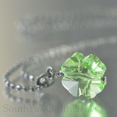 Peridot Swarovski Crystal Four leaf Clover necklace