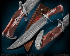 """""""Impulse"""" won """"Best Fighter"""" award at #theartofsteel show. Great photo by @caleb_royer #bladesmithing #knivesdaily #handmade #checkering #forged #knife #customknives #fightingknife #luxury #safari #expensivetaste #carving"""