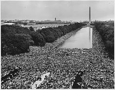 The March on Washington for Jobs and Freedom happened on August 28, 1963. About 250,000 people came to D.C. for this peaceful protest. The day's events included music by Bob Dylan and Joan Baez. Speeches were given by religious leaders and civil rights leaders including Martin Luther King, Jr.