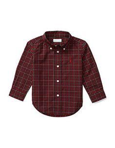 Ralph Lauren Childrenswear Baby Boys  Tartan Plaid Shirt  Red 12 Month
