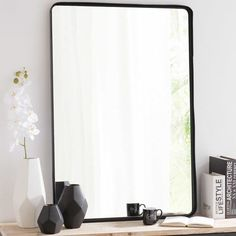 Black metal mirror height 110 cm - All About Balcony Affordable Decor, Sideboards Living Room, Dining Room Bench Seating, Dining Sofa, Mirror Wall Decor, Metal Mirror, Trending Decor, Sideboard Furniture, Mirror