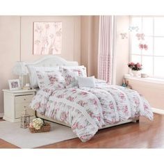 Better Homes and Gardens 5-Piece Floral Ruching Bedding Comforter Set - Walmart.com