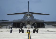 A B-1B Lancer assigned to the 9th Expeditionary Bomb Squadron, deployed from Dyess AFB, Texas, arrives Feb. 6, 2017, at Andersen AFB, Guam. Air Force photo by TSgt. Richard P. Ebensberger.