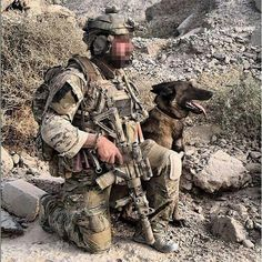 Member of the British 22 Special Air Service in Afghanistan with his MWD