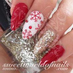 Christmas Nail Art Red Snowflakes Nail Water Decals Water Slides www. Nail Art Designs, Orange Nail Designs, Holiday Nail Designs, Short Nail Designs, Simple Nail Designs, Nails Design, Xmas Nails, New Year's Nails, Holiday Nails