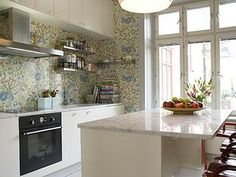 josef frank wallpaper in the kitchen