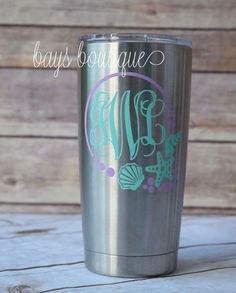 Under The  Sea Decal Decal Yeti Monogram Decal by BaysBoutiqueCo
