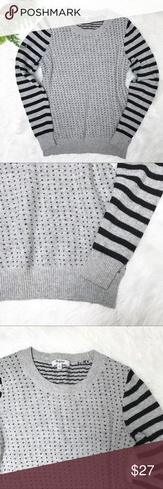 """Madewell Gray Black Crewneck Striped Dot Sweater Madewell Gray Black Crewneck Striped Dot Sweater. Size small. Unstretched measurements 34"""" bust. 22.5"""" long. 31"""" waist. Heart dots and striped sleeves. Very good condition. Madewell Sweaters Crew & Scoop Necks"""