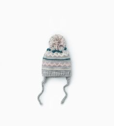d0cfc2e1c67 Knit jacquard hat with pompom-Hats