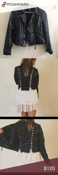 Free People Lace up leather Jacket Vegan leather jacket purchased from Free People for about $200. Lace up detailing in the back. In almost perfect condition. It's just a little big on me, made for someone a little taller Free People Jackets & Coats Utility Jackets