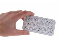 Mini Bluetooth in white....5-row keypad with 49 keys (11 exclusive extra iPad and iPhone keys). Quality tactile feedback. Intergrated rechargable battery gives over 300 hours from a single charge