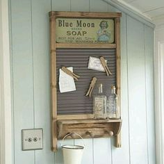 Washboard - add a shelf with pegs underneath, old clothespins with ...