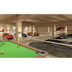 Private Luxury Garage ❤ liked on Polyvore featuring house, rooms, places, cars and casa