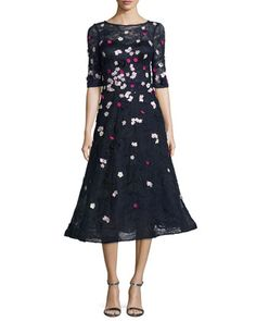 3D+Floral+Lace+Fit-&-Flare+Cocktail+Dress,+Blue+by+Rickie+Freeman+for+Teri+Jon+at+Neiman+Marcus.