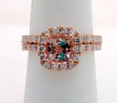 Rose Gold Morganite Wedding Ring Bridal Set by LuxinelleJewelry