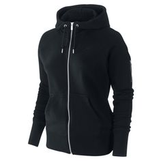 Nike AW77 Stadium Full-Zip Women's Hoodie - Black, L ($85) ❤ liked on Polyvore
