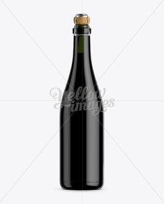 Dark Green Glass Lambrusco Bottle w/ Red Wine Mockup