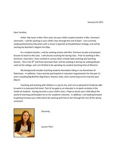 Perfect example of Intro. letter to parents from student teacher