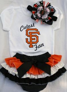 Sf Giants inspired embroidered onesie, ruffle butt and matching bow